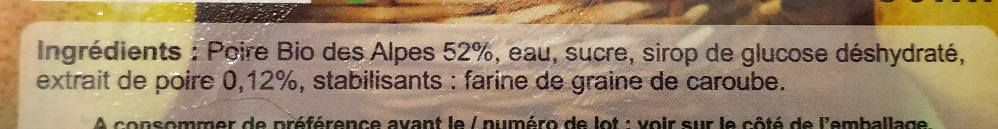 Poire des Alpes - Ingrediënten