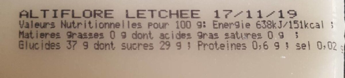 Sorbet letchee - Informations nutritionnelles - fr