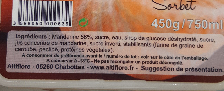 Sorbet Mandarine - Ingrédients - fr