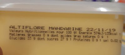 Sorbet Mandarine - Informations nutritionnelles - fr