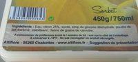 Sorbet citron - Ingrédients - fr