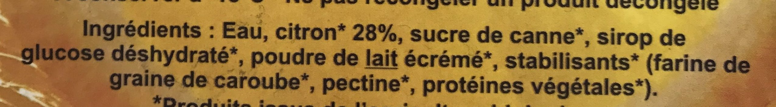 Citron bio - Ingredients
