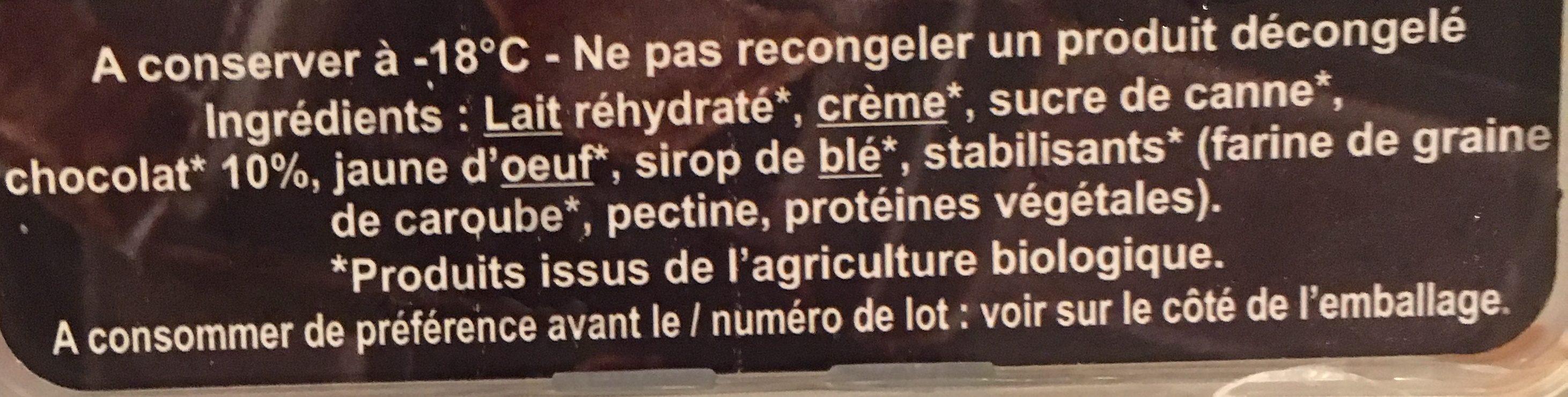 Glace chocolat bio - Ingrédients - fr