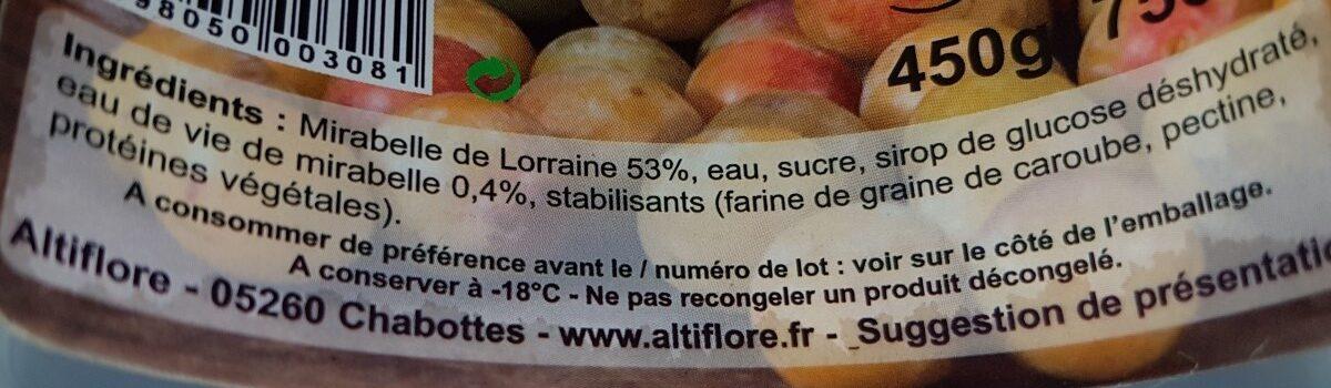 Sorbet mirabelle - Ingrédients - fr