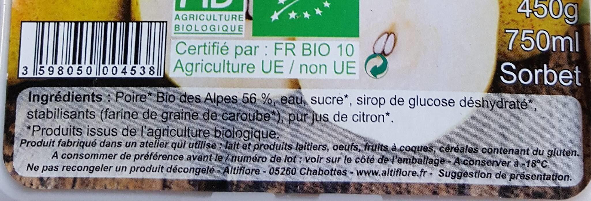 Poire - Informations nutritionnelles - fr