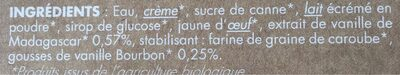Glace vanille de madagascar Dahu - Ingrédients