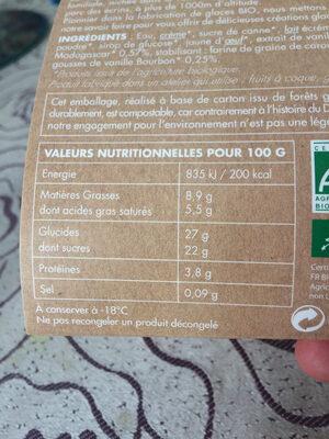Glace vanille de madagascar Dahu - Informations nutritionnelles