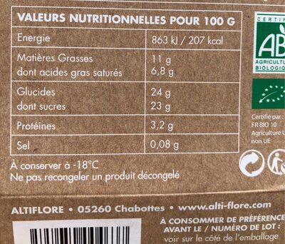Dahu Chocolat - Informations nutritionnelles - fr