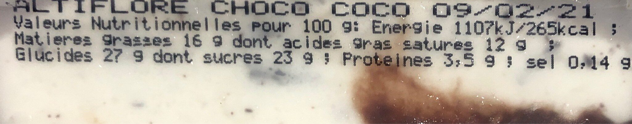 Glace Choco coco - Informations nutritionnelles - fr