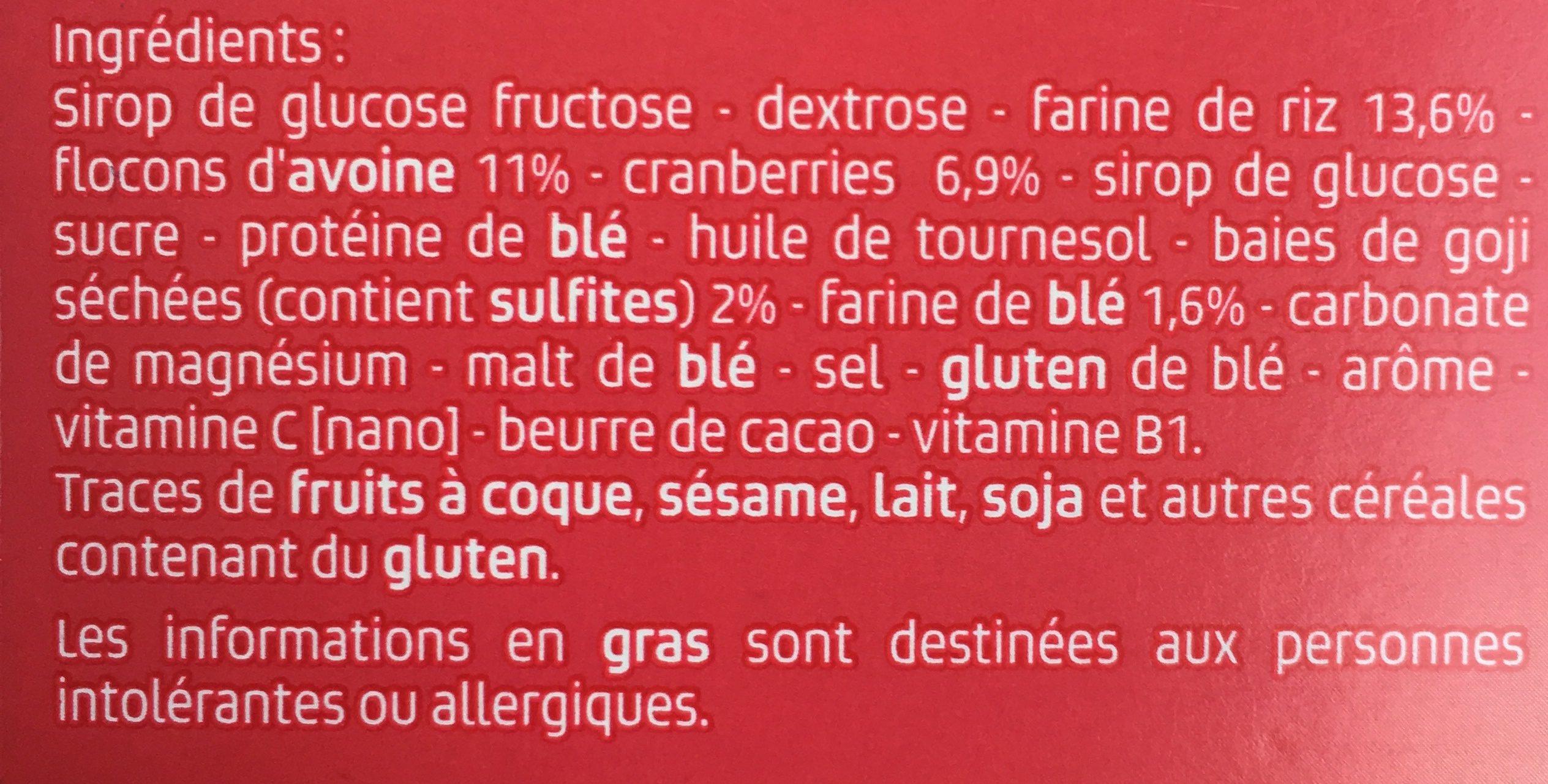 Energy bar, fruits rouges - Ingrédients - fr