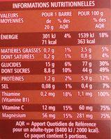 Energy bar, fruits rouges - Informations nutritionnelles - fr