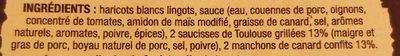 Le Cassoulet au Confit de Canard et à la Saucisse de Toulouse - Ingrédients - fr