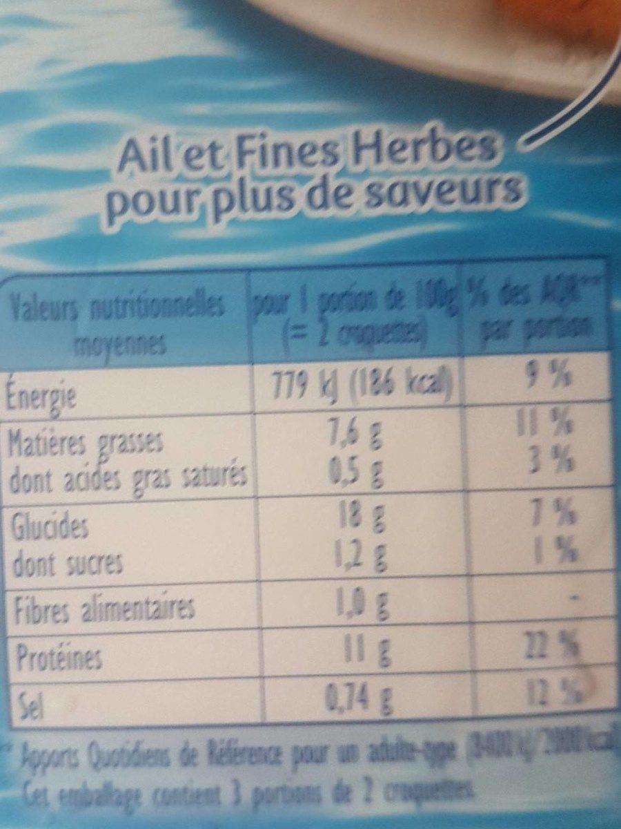 Croquette ail et fines herbes - Informations nutritionnelles - fr
