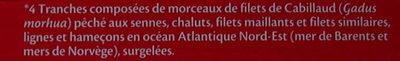 Tranches de Cabillaud - Ingrédients - fr