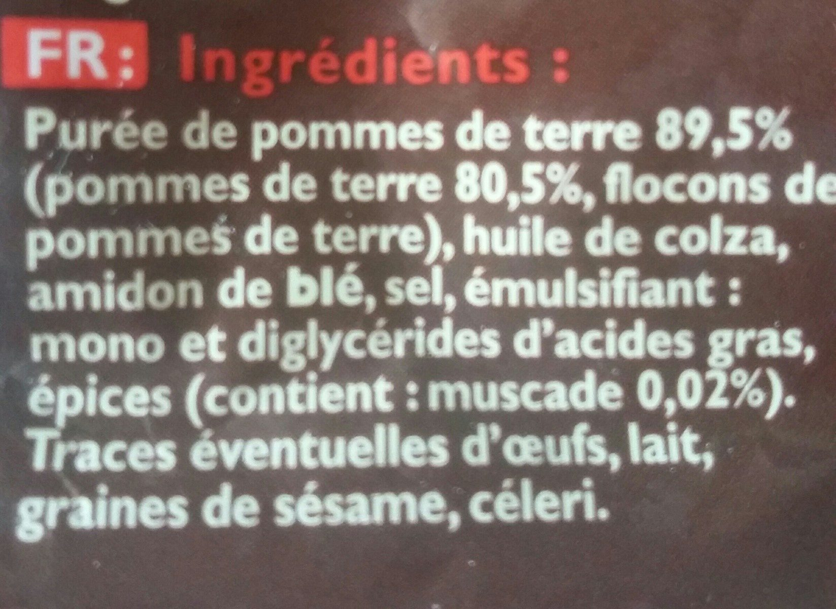 Pommes  noisettes - Ingredients