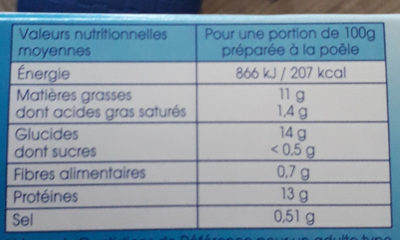 4 filets Cabillaud - Nutrition facts