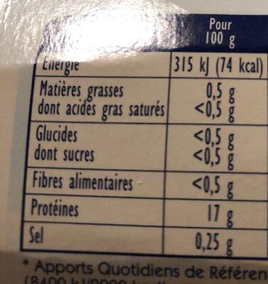 Filets de Cabillaud MSC - Voedingswaarden - fr