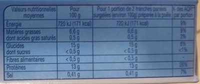 100 % filet cabillaud - Informations nutritionnelles