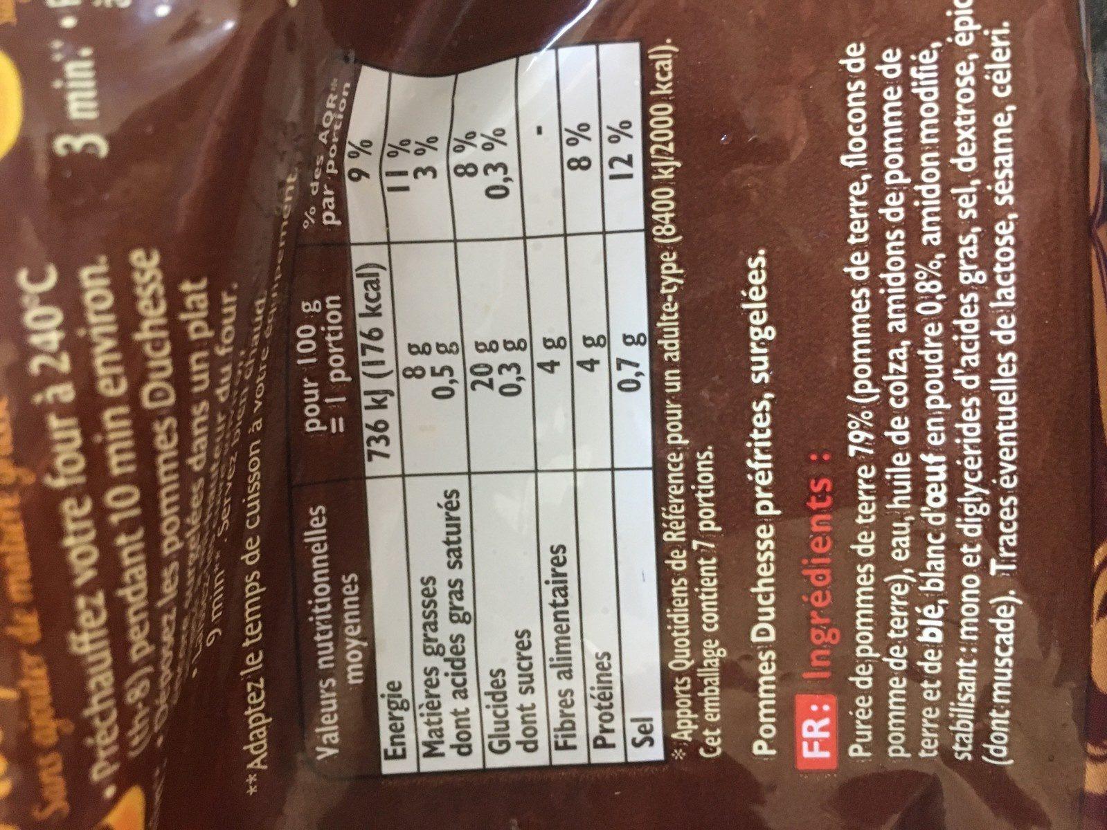 Pommes Duchesse - Ingrediënten