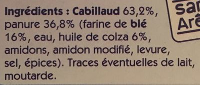 100% filet Cabillaud (format familial) - Ingredients - fr