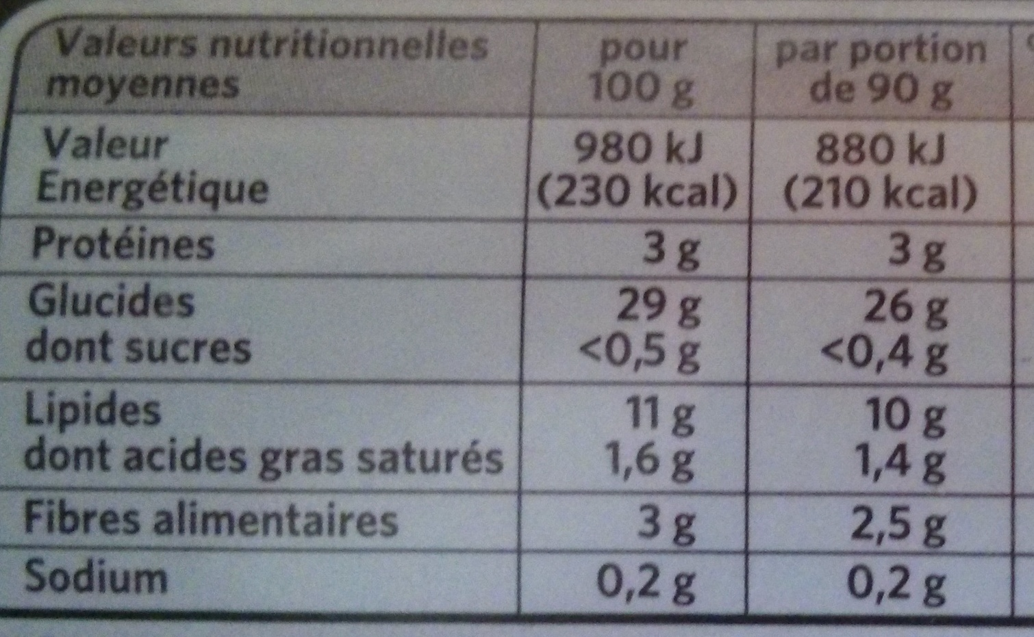 Crousti' Express Extra aux Herbes - Informations nutritionnelles