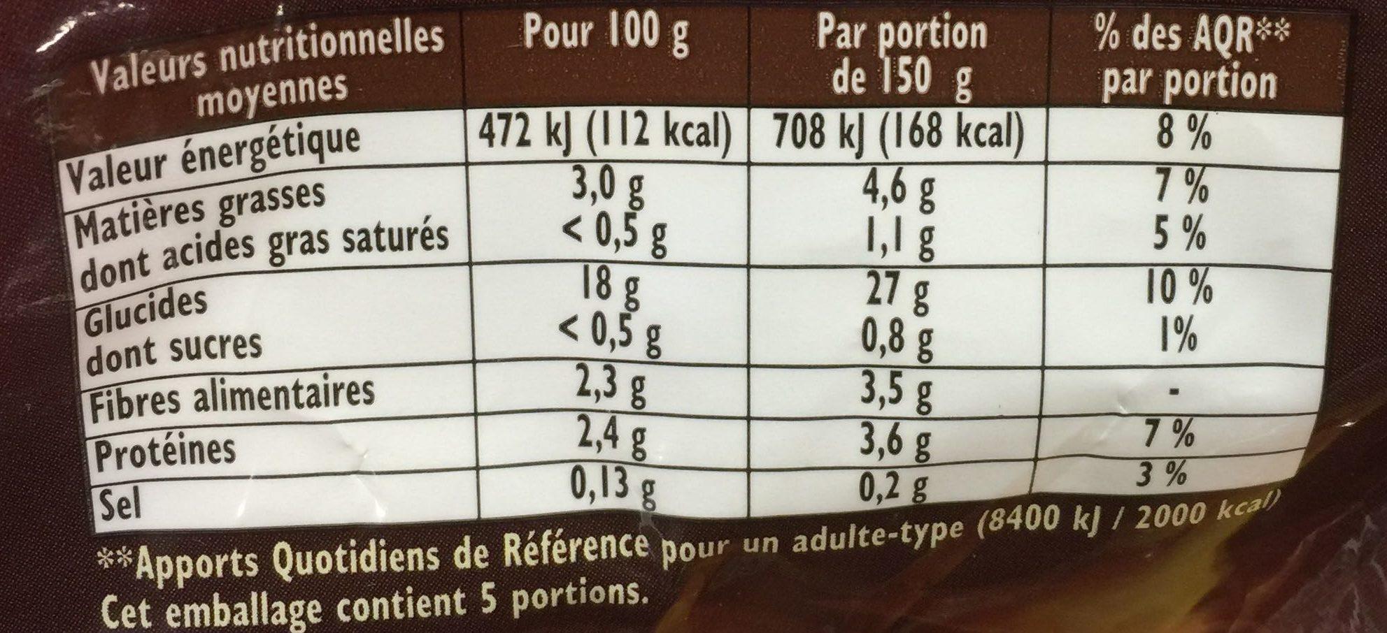 Pommes de terre coupees a l'ancienn - Informations nutritionnelles