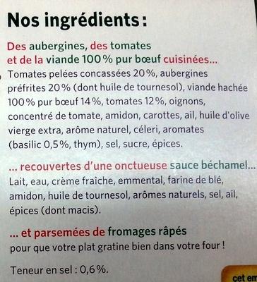Moussaka surgelée - Ingrédients
