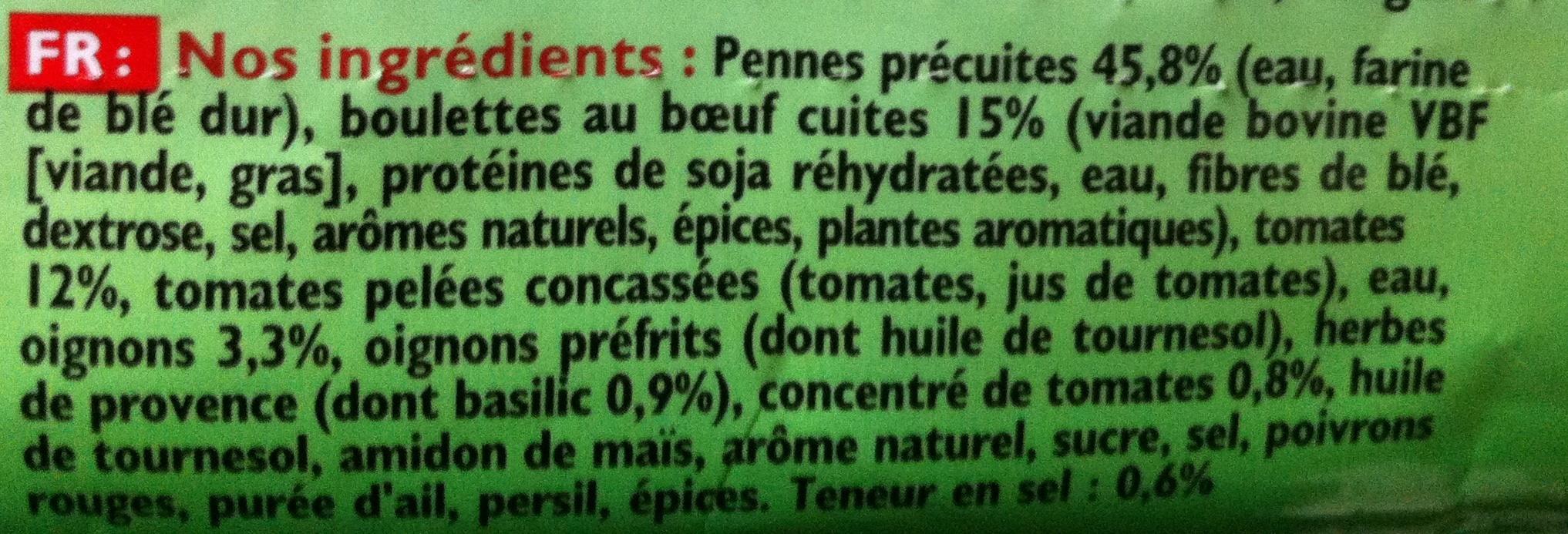 Pennes et Boulettes à la Bolognaise, Surgelés - Inhaltsstoffe - fr