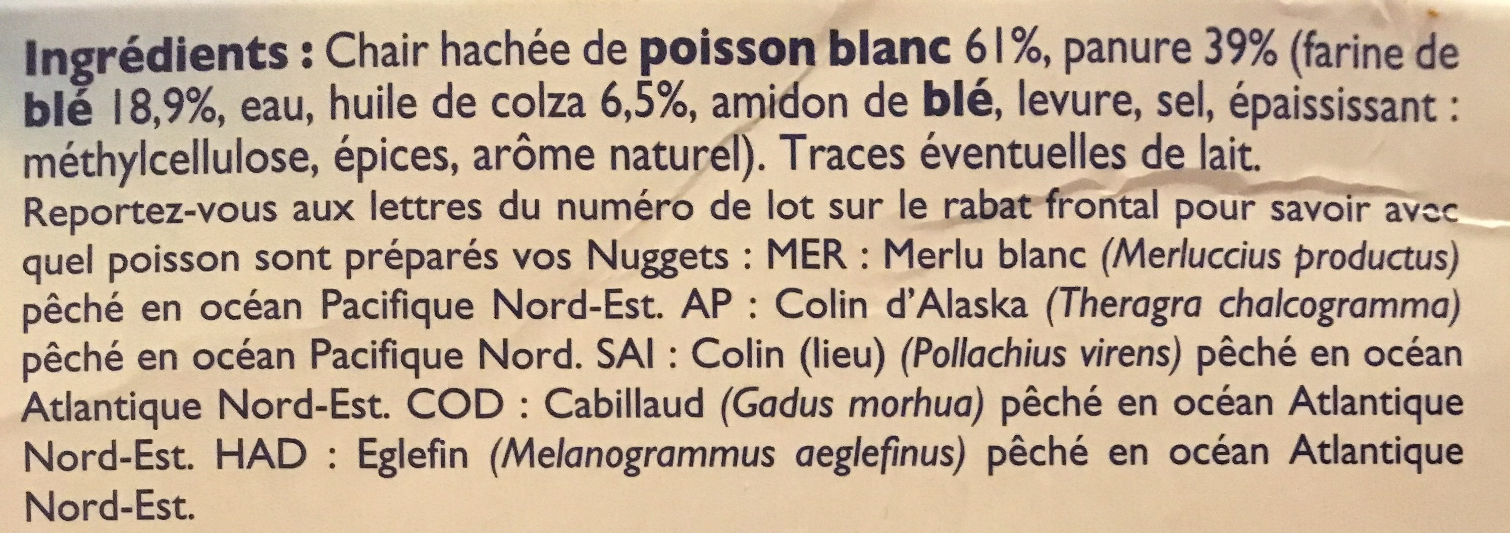 Nuggets de poisson - Ingredients