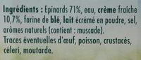 Épinards hachés à la crème fraîche - Ingrédients - fr