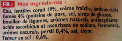 Mouliné lentilles corail, lardons & pointe de persil - Ingrediënten