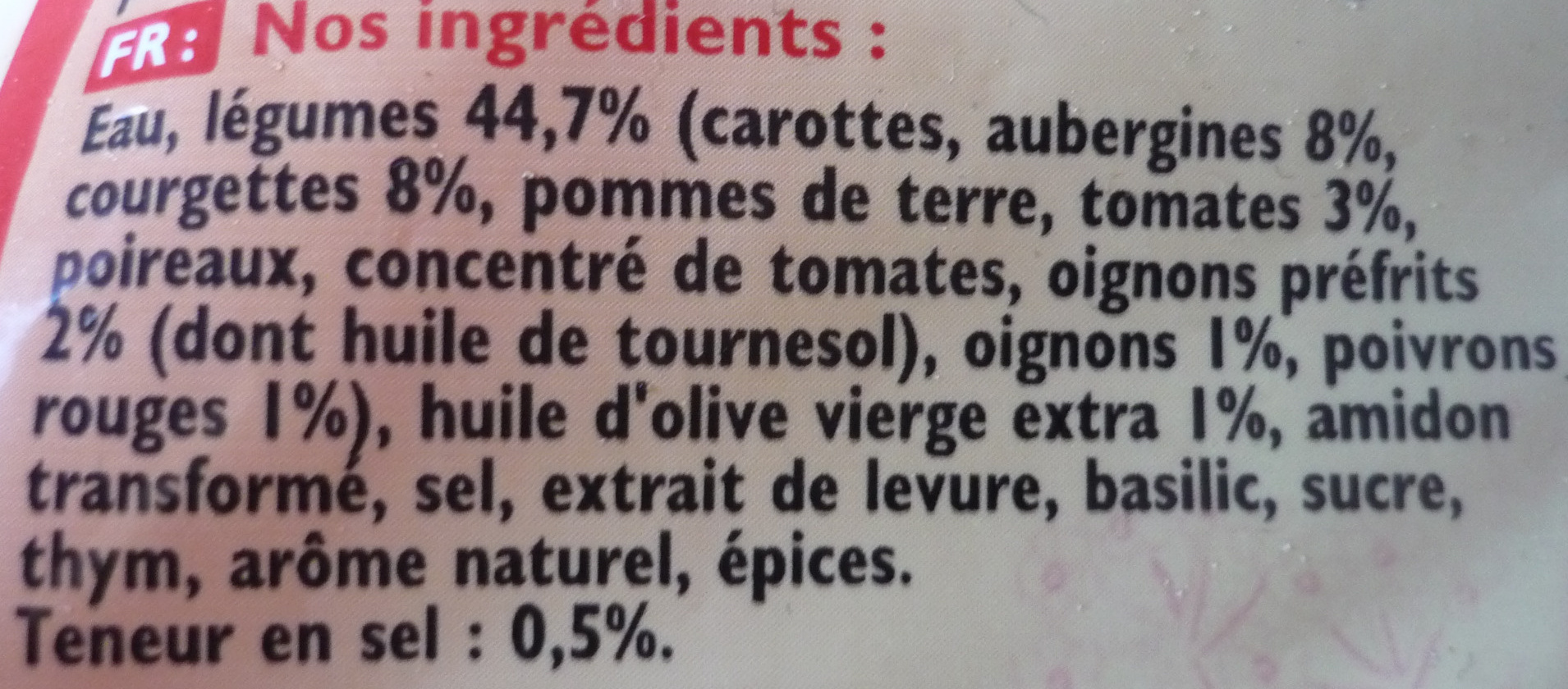 Velouté légumes provençaux - Ingrediënten