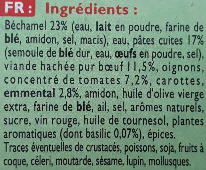 Lasagnes Bolognaise Pur Bœuf - Ingrédients