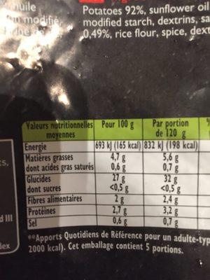 Frites au four l'allumette - Ingrédients - fr