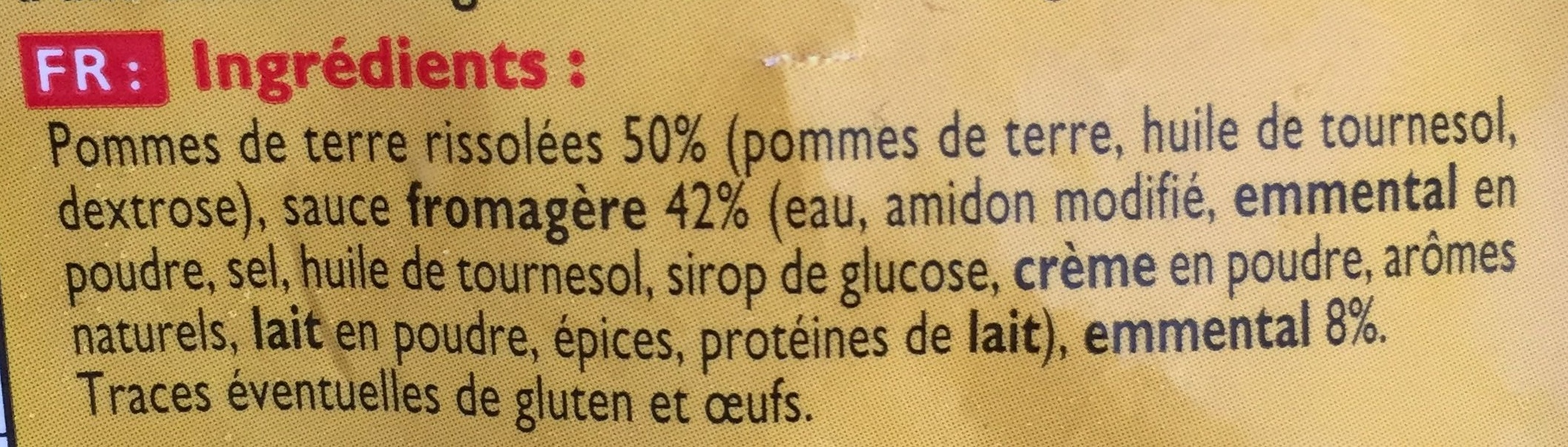 Pommes rissolées au fromage - Ingrediënten
