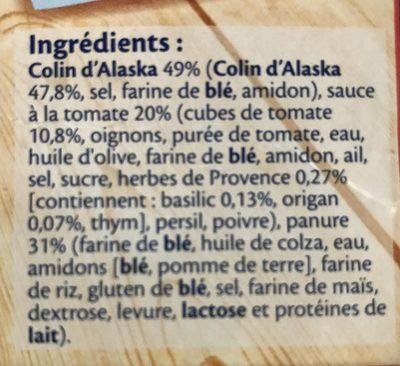 Colin d'alaska panés tomate à la provencale - Ingrédients - fr