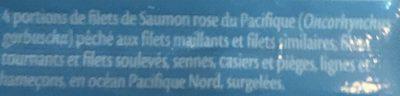 Filet de saumon rose du Pacifique - Ingredients