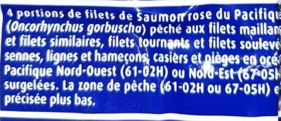 Filets Saumon rose du Pacifique - Ingrediënten - fr