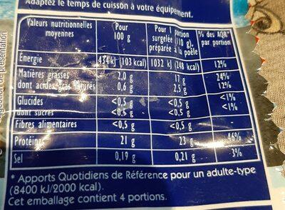 Filets Saumon rose du Pacifique MSC - Nutrition facts - fr