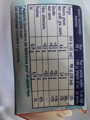4 filets de saumon rose du Pacifique - Voedingswaarden - fr