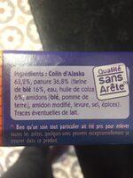 Tranches Panées de Colin d'Alaska - Ingrédients - fr