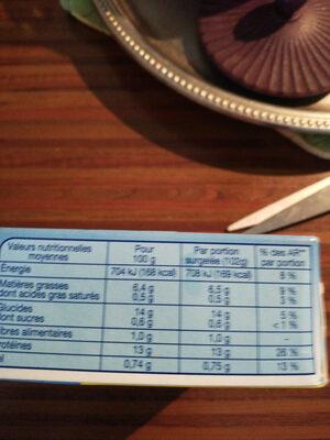 Tranches Panées de Colin d'Alaska - Informations nutritionnelles - fr