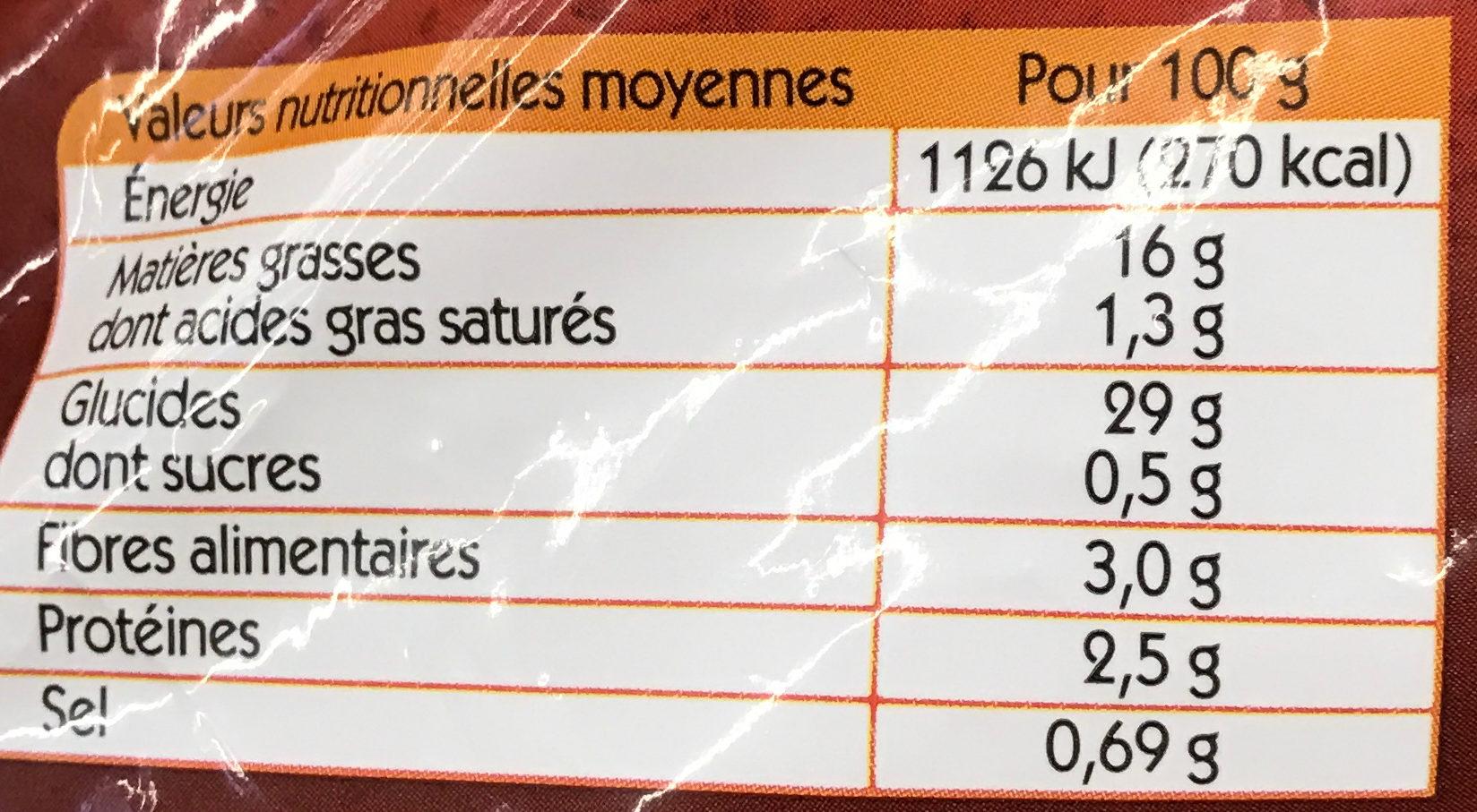 Mini-Churros de Pomme de Terre - Informations nutritionnelles