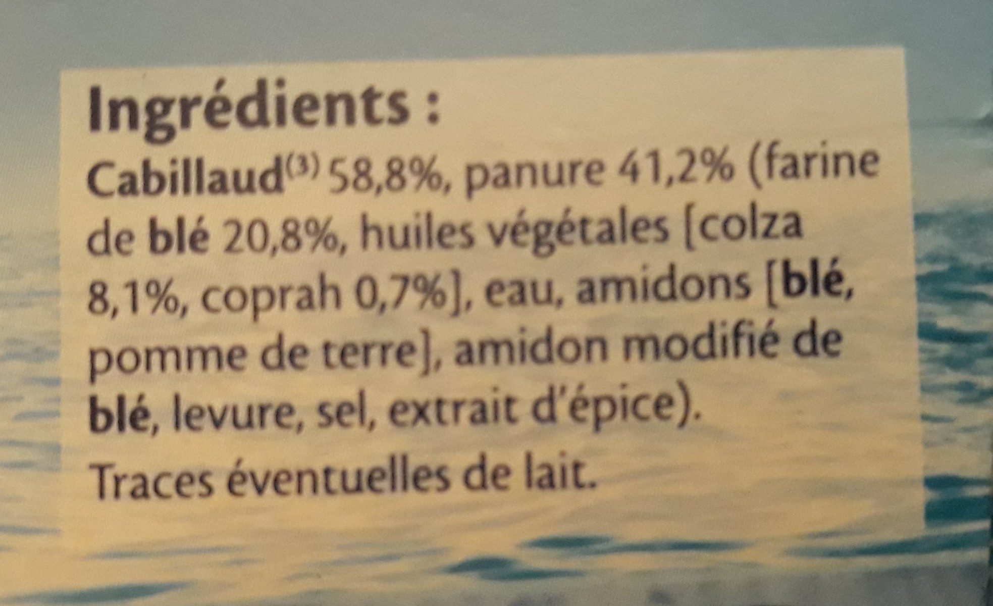 Qualité 100% Filet de Cabillaud x8 - Ingredients