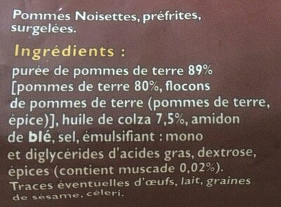 Pommes noisettes - Ingrédients
