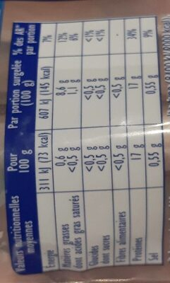 Filets de Colin d'Alaska MSC - Voedingswaarden - fr