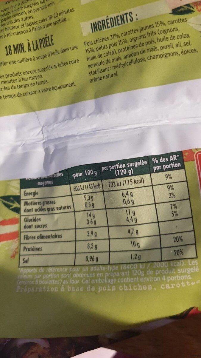 Boulettes de Légumes - Informations nutritionnelles - fr
