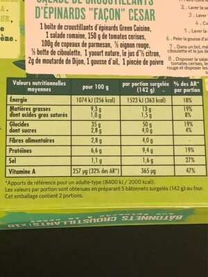 Bâtonnets croustillants Épinards - Valori nutrizionali