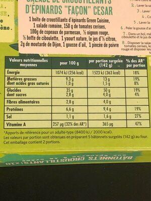 Bâtonnets croustillants - Voedingswaarden - fr