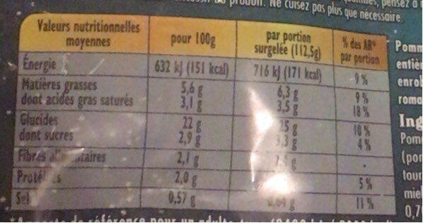 pommes grenaille - Informations nutritionnelles - fr